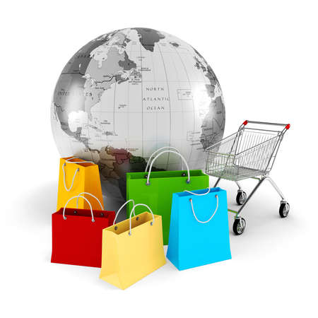 3d global shopping concept photo