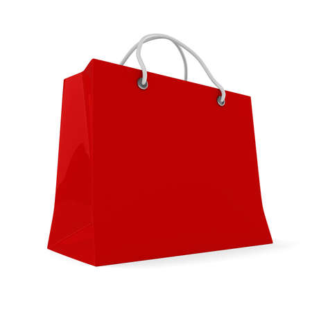 3d red shopping bag on white background photo