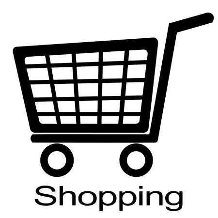 shopping cart illustration  black and white  Stock Illustration - 17909161