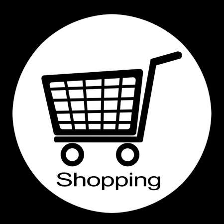 shopping cart illustration  black and white  illustration