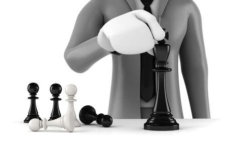 defeat: 3d man businessman moving a king chess figure with few pawns army behind, business concept and strategy Stock Photo