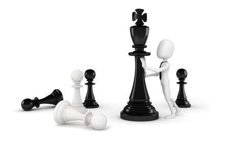 chess move: 3d man pushing a king chess figure Stock Photo