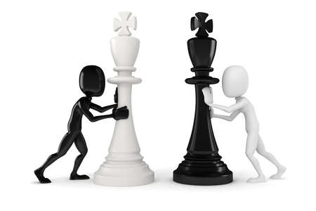 chess move: 3d man pushing a king chess figure Stock Photo