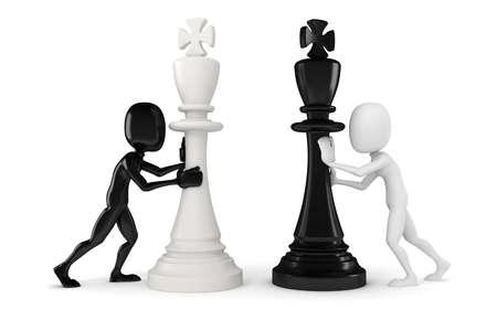 hombre empujando: Hombre 3d que empuja una figura de ajedrez rey