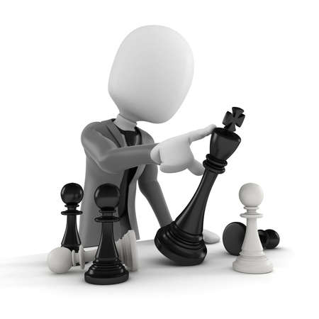 3d man pushing a chess figure -  business concept and strategy photo