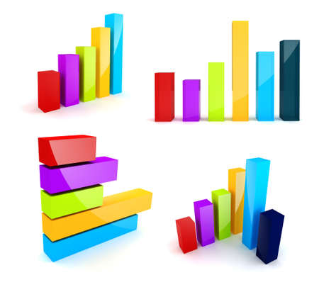 3d colorful shiny business graph on white background Stock Photo - 18021309