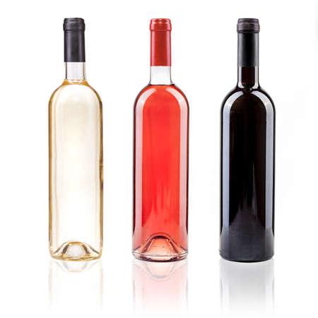 bouteille de vin: rose blanche et rouge pleurnicher