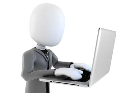 3d man businessman and laptop  on white background Stock Photo - 18343248