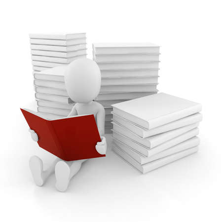 3d man reading a book  on white background photo