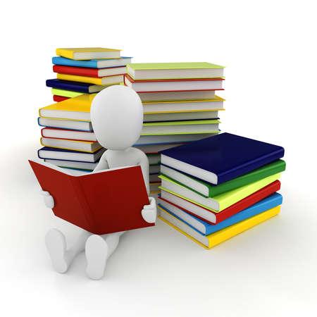 libro caricatura: Hombre 3d que lee un libro en el fondo blanco Foto de archivo