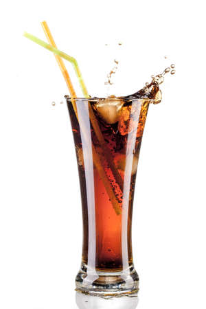 cup: fresh cola juice and ice cubes splash in a glass on white background