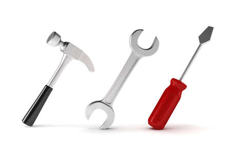3d Working tools on white background photo
