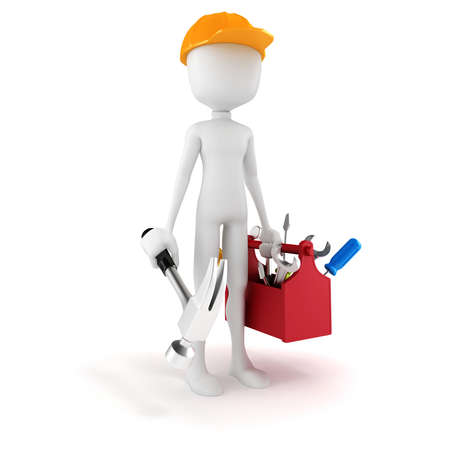 3d man with tools box on white background photo