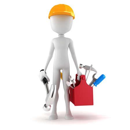 petit homme: Homme 3d avec la bo�te d'outils sur fond blanc Banque d'images