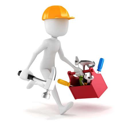 3D man met gereedschap doos op witte achtergrond Stockfoto