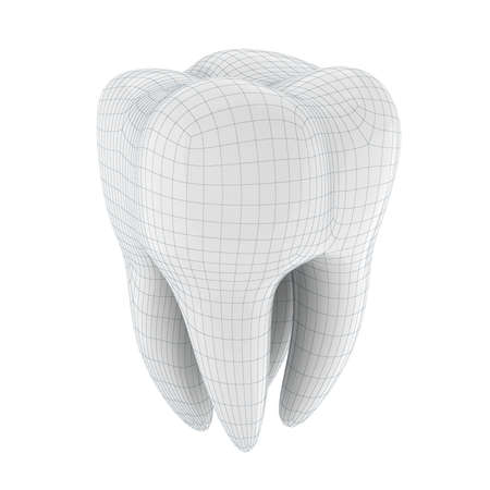 carious: 3d tooth on white background