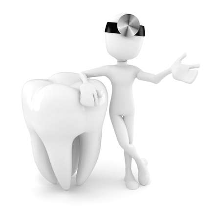 3d tooth on white background photo