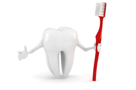 carious: 3d tooth with tooth brush on white background