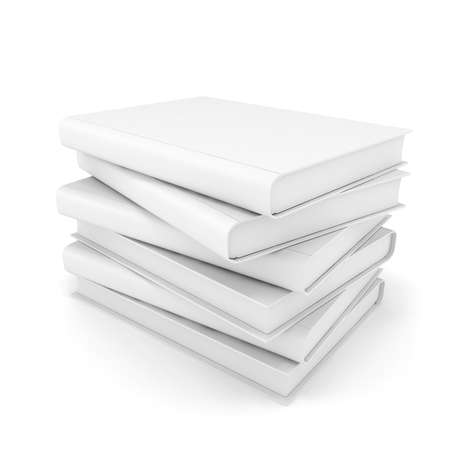 pile of books: 3d white blank books on white background