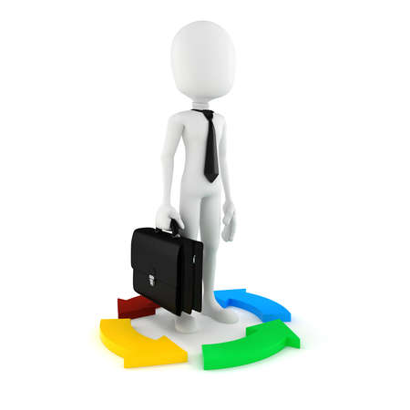 3d man businessman and colorful arrows, on white photo