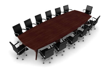 directors: 3d conference table and leather seats on white