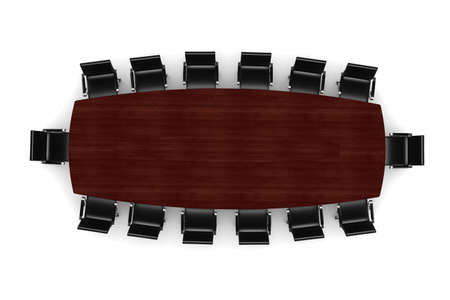executive board: 3d conference table and leather seats on white