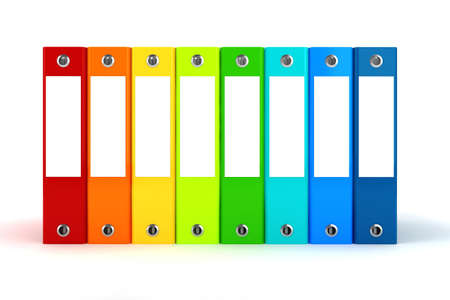 3d colorful dossiers folders on white background photo