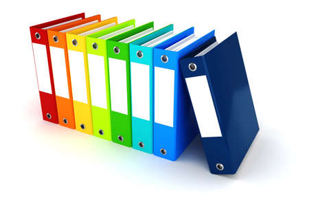 financial paperwork: 3d colorful dossiers folders on white background