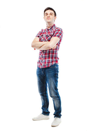 young man jeans: portrait of young attractive casual man on white background