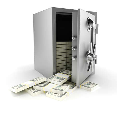 3d vault with money insiide, on white background photo
