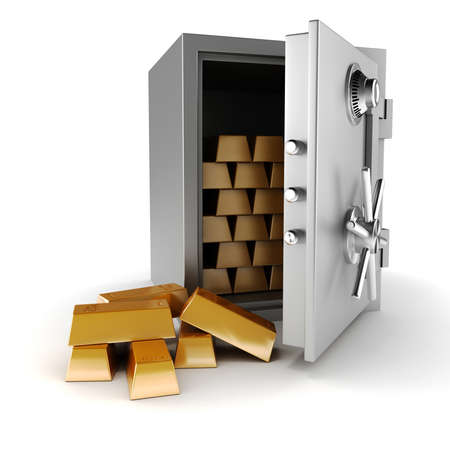 3d vault and gold bars on white background Stock Photo