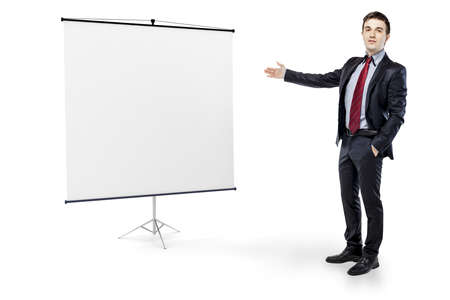 businessman pointing to a blank board on white background photo