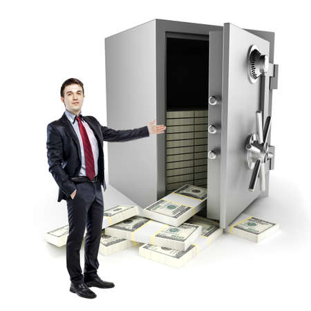 safe deposit box: businessman and vault with a lot of money inside, on white background Stock Photo