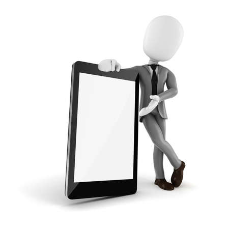 3d man and mobile smartphone with blank display photo