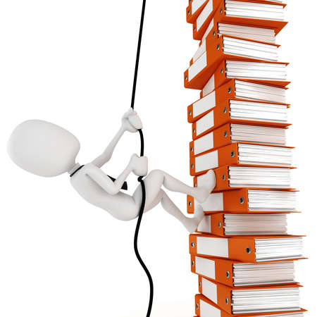 pile of documents: 3d man businessman climbing a pile of documents