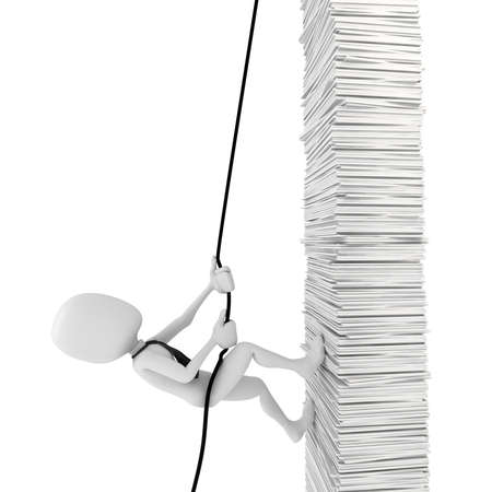 3d man businessman climbing a pile of documents photo