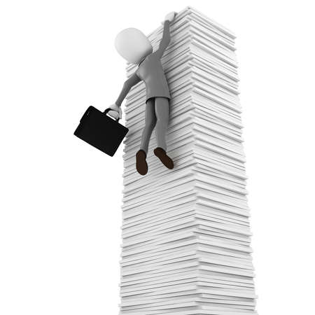 3d man hanging of documents, on white background photo