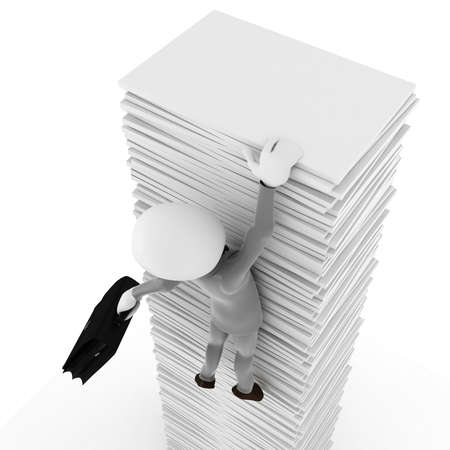 stack of documents: 3d man hanging of documents, on white background Stock Photo
