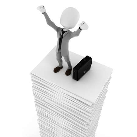 pile of documents: 3d man businessman happy on a pile of blank documents