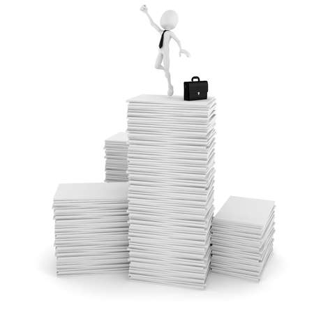 3d man businessman happy on a pile of blank documents photo