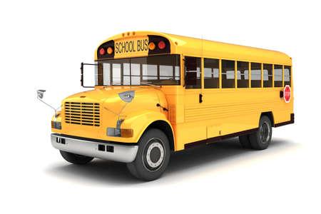 viagem: Ônibus escolar 3d no fundo branco