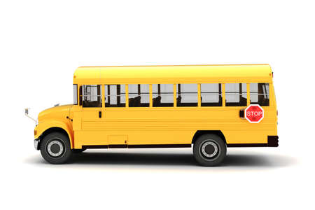 3d school bus on white background photo