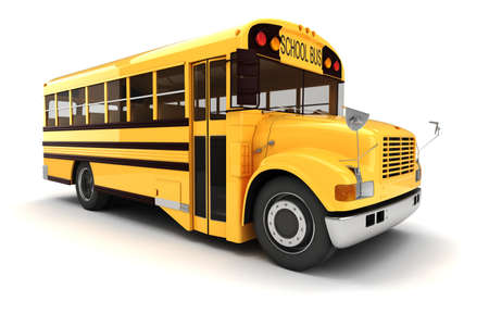 school buses: 3d school bus on white background