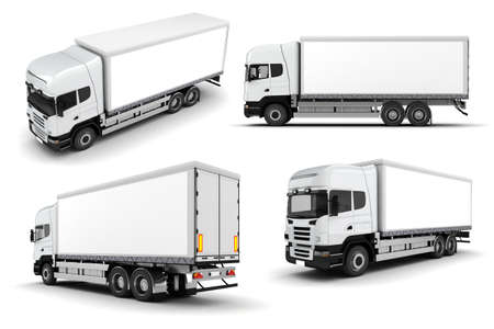 semi trailer: 3d truck on white background