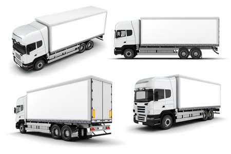 lorry: Camion 3D su sfondo bianco