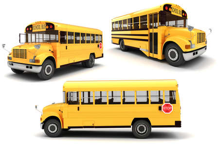 middle school: 3d school bus on white background