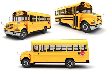 transport scolaire: Autobus scolaire 3D sur fond blanc