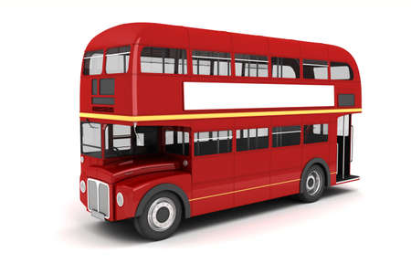 double decker bus: 3d london bus on white background Stock Photo