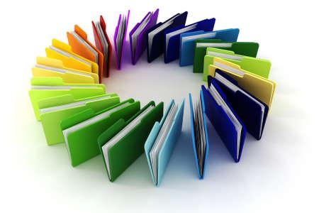 3d kleurrijke mappen op een witte achtergrond