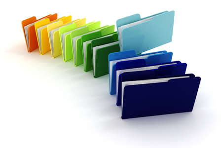 file: 3d colorful folders on white background